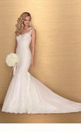 Wholesale Paloma Blanca Trumpet Lace - 2016 Lace Mermaid Wedding Dress With Florals Applique Cap Sleeves Sheer Illusion Neckline Backless 4672 Paloma Blanca Bridal Gown Abiti Da S