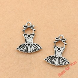 Wholesale Plated Wholesale Skirt - 80pcs Antique Silver Plated Skirt Dress Charms Pendants For Jewelry Making Diy Handmade 21x17mm jewelry making