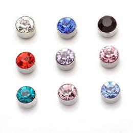 Wholesale Girls Plastic Earrings - Earrings for Women Wholesale Fashion Multicolor Round Rhinestone Crystal Plastic Hypoallergenic Stud Earring Women Girl Jewelry Stud Earring