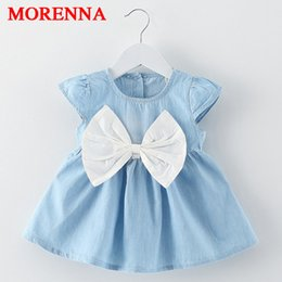 Wholesale Jeans Children Girls For Summer - MORENNA Cute Baby Girl Dress Jeans Children Kids Baby Denim Dresses One Piece Baby Summer Clothing For School Casual Wear Clothes Girl