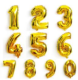 Argentina Gran número de oro de 32 pulgadas Número de plata Globo de aluminio Papel de aluminio Globos de helio Decoración de banquete de boda Suministros de celebración Suministro