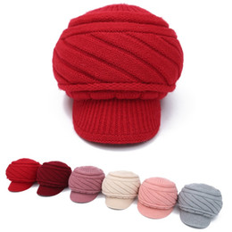 Wholesale Red Bowler - Vintage Girls Ladies women top fashion Fascinator Bowknot Floppy Cute winter hats Caps Blend Felt Trilby Bowler Hat Knitting wool caps Beret