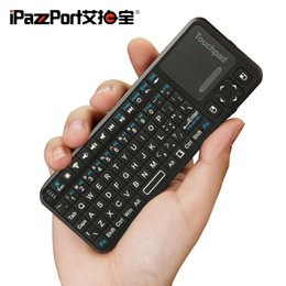 Wholesale Mini Bluetooth Touchpad - iPazzPort Backlit Mini Wireless Bluetooth Keyboard With Touchpad Combo QWERTY Keyboards Fly Air Mouse and Bulit-in Rechargeable Battery