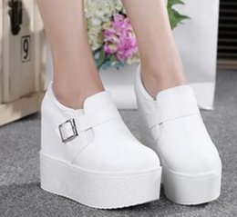 Wholesale White Wedge Platform Heels - Wedge high heels zapatos mujer Platform Heels ladies Canvas Shoes chaussure femme women school valentine zapatos Casual Shoes