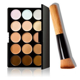 Wholesale Party Set Ups - Professional 15 Colors Concealer Camouflage Makeup Palette Face Cream Makeup Concealer Palette Make Up Set Tools with Brush for Salon Party