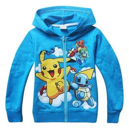 Wholesale Kids Jacket Animal Hoodie - 2016 Pikachu Kids Zipper Hoodie Coat Children Jacket Boys Girls Cartoon Hooded Outfit children Hoodies Sweat shirts Free Shipping A388