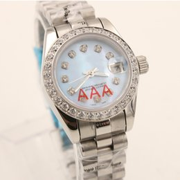 Wholesale Top seller Unisex Wristwatch Full Stainless Steel Diamonds Platinum Belt Light Blue Face top quality mechanical watch women s watch