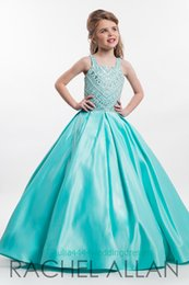 Wholesale Turquoise Gown Flower Girls - Turquoise Little Girl's Pageant Dresses Flower Girls Day Gown Princess Communion Party With Ball Gown Beads Sequins Satin teen Kids