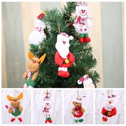 Wholesale Santa Claus Ornament Hanging - Christmas Decoration Pendants Xmas Tree Hanging Ornaments Snowman Deer Bear Cute Doll Santa Claus For Home Party Decor 12 pcs lot YYA668