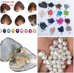 Wholesale Round Rice - Natural Pearl Oyster 7.5-8mm Freshwater Vacuum-pack Love Wish Pearl Oyster akoya Round Beads Rice DIY Bracelet Necklace Jewelry Making C552