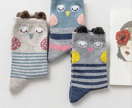 Wholesale Cute Owl Pattern Cartoon - Newly Design Cute Cartoon Owl pattern Socks Women GIRL Cotton Sock Autumn And Winter style Tube Socks floor Socks free shipping HY1260