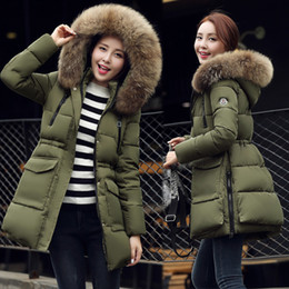 Wholesale Duck Flocking - fashion army green women Down Parkas winter warm outerwear clothes women long design big size fur collar coat Hooded Duck Down jacket FS0747