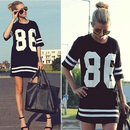 2017 86 robe de baseball Summer Style Women T Shirt Celebrity Number 86 Print Tops Long Loose Hip Hop American Baseball Sports Tee Tee-shirt pour dames Blusas Casual Dress promotion 86 robe de baseball