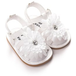 Wholesale Toddler Crystals Shoes - Flower Baby Toddlers Shoes Summer Sandals Girl Princess Crystal Leather Moccasins Soft Sole Infant Baby First Walkers Flat Heel Shoes White