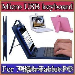Wholesale Tablet Keyboard Stand - OEM Arrive Leather Stand Case Cover with Micro USB Keyboard For 7 Inch Tablet PC Freeshipping Wholesale sell A-JP