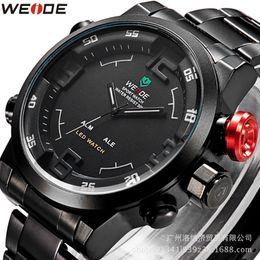 Wholesale Weide Wristwatches - Watch Men Fashion Business Watches LED Clock Relogio Masculino Waterproof Military Full Steel Wristwatch New Luxury Brand WEIDE