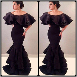 Wholesale Cape Skirts - 2018 Arabic Long Mermaid Tiered Skirt Evening Dresses Robe De Soiree Courte Black Satin Cape Sexy Prom Party Gowns Cheap Abendkleider