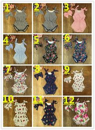 Wholesale Clothes Size 22 - 22 Style Infant Flora Romper + Bowknot Headband Babies Girl Romper Cotton Kids Clothes Baby Girls 2piece Rompers Jumpsuit K8077