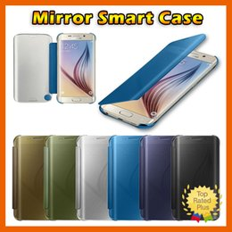 Wholesale Iphone Slimmest Flip Case - Fashion Slim Matte Mirror Clear View Flip Case Cover for Samsung Note7 Galaxy S6 S6 Edge S7 S7 Edge Full Coverage