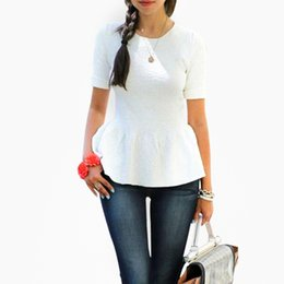 Wholesale Korean Office Wear - Korean Style Women Blouses Short Sleeve Temperament Ruffles Tops Fashion Office Lady Slim Work Wear Summmer Blouse