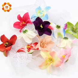 Wholesale White Orchid Heads - Wholesale- 10pcs lot 7cm Silk Orchid Artificial Flower Head For Wedding Decoration DIY Wreath Gift Scrapbooking Craft Fake Flowers
