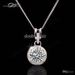 Wholesale Big Wedding Crystals Necklaces - Big Shiny CZ Diamond OL Style Necklaces & Pendants Wholesale 18K Platinum Plated Party Wedding Jewelry Crystal For Women DFN469