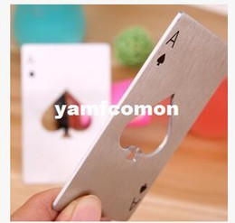 Wholesale Key Cap Size - Poker Shaped Bottle Opener Stainless Steel Spades A Openers Credit Card Size Ace Playing Card Cap opener Wallet key chains