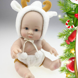 Wholesale Peanuts Christmas Figures - 25 cm Mini Realistic Silicone Babies Doll Baby doll with CUTE Cartoon Cloth Unisex Peanut toy Playmate for birthday Christmas