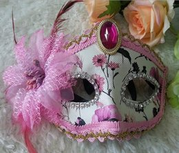 Wholesale Leather Face Mask Ball - Party mask mask wholesale leather ball side flower half face mask multicolor free shipping