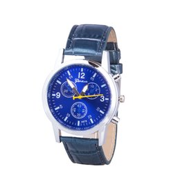 Wholesale Cheap Christmas Watches - 3-dial Synthetic Leather Quartz Business Mens Watches Wholesale Dress Watches Cheap Luxury Watches Christmas Birthday Gift Watches