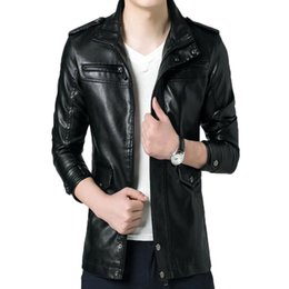 Wholesale Leather Jacket For Large Men - Fall-2016 New Arrival Men Brand Washing PU Leather Motorcycle Jackets for Male Large Size M-4XL 105hfx