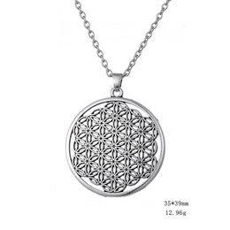 Wholesale Three Circles Pendant - Alloy Wiccan Link Chain Necklace Myth Love Knot Flower of Life Egyptian Style Simple Necklace Different three Styles Gift for Man & Woman