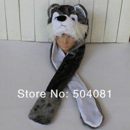 Wholesale Animal Hat Fluffy Plush Warm - 2016 Hot sale cute Plush Cartoon wolf   husky Dog Hats Fluffy Warm animal 3 in 1 Multi-function hat Scarf Gloves Cap Free Shipping