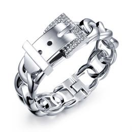 Wholesale Channel Belts - Belt Design Woman Bangle Wedding Jewelry For Women Silver 18K Gold Plated Bracelet w  Cubic Zirconia Gifts wholesale AKH499