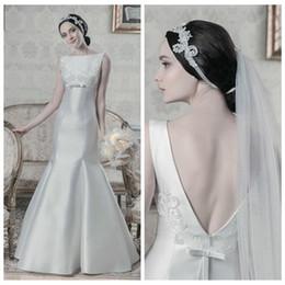 Wholesale Mermaid Bowknot Wedding Dresses - Sexy V-Shape Back Mermaid Satin Wedding Dresses Empire Bowknot Ribbon Bridal Gowns Pleated Floor-Length Satin Bridal Vestidos De Novia 2017