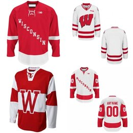 Wholesale Wisconsin Badgers Xxl - Costomize NCAA Wisconsin Badgers Cardinal Mens Womens Kids College Jeseys White Red All Embroidered Best quality Ice Hockey Cheap Jerseys