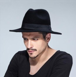 Wholesale Middle Child - Men's Wool Hats Solid Middle Brim Sun Hats Autumn Winter Band Decoration Fedora Retro Big Band Hats LC