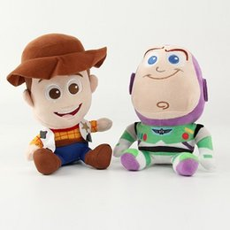 Wholesale Woody Plush - 2016 new anime Toy Story 3 Woody the cowboy doll police plush toys buzz lightyear doll 20cm birthday gift wholesale 2pcs lot