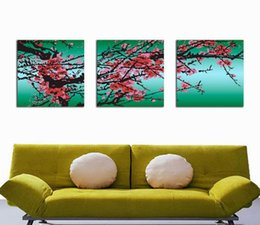 Wholesale Plum Blossom Canvas Art - Plum Blossom Wintersweet Flower Painting Giclee Print On Canvas Home Decor Wall Art Set30256