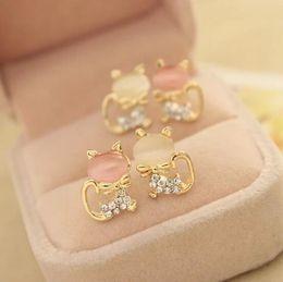 Wholesale Cats Eye Gold Earrings - Fashion Jewelry Women Cat's Eye Ear Studs Earrings Cute Cat Pattern Elegant Crystal Rhinestone Earring OL Delicate Drill Eardrop Studs