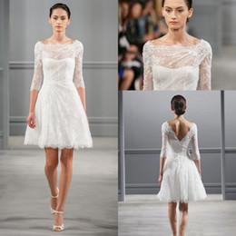 Wholesale monique lhuillier illusion - Illusion Bateau Neck 3 4 Sleeves Monique Lhuillier Spring 2017 Short Wedding Dresses Knee length Beach Backless Wedding Dress Little White
