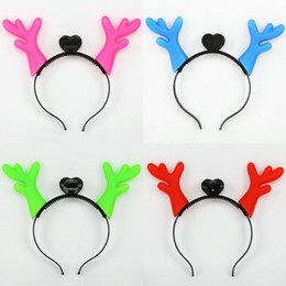 Wholesale Reindeer Christmas Costume - 2016 Hot 10pcs Christmas Light-Up Hairbands Antlers Reindeer Horns Moose horn new Christmas Flashing Party Prop Fancy Costume Party Hairband
