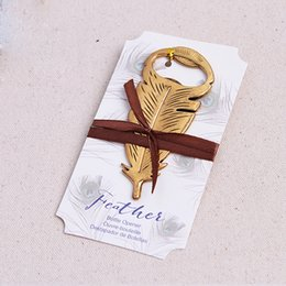 Wholesale wholesale gift giveaways - Feather Shape Corkscrew Baby Shower Gift Retro Bottle Opener For Kitchen Bar Articles Wedding Giveaway 4 5yk C R