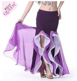 Wholesale Belly Dance Ruffled Skirts - New Womens Belly Dance Costume Fashion Dual split Ballroom Dance Ball Gown Dance Performance Skirt 9 Colors Stage Wear