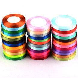 Wholesale Ribbon 6mm - New 6mm 25 yards Silk Satin Ribbon cake Gift Packing Wrapping Invitation Card Crafts DIY Bow Wedding Party Christmas decoration