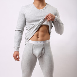 Wholesale Thick Thermals Long Sleeves Men - Wholesale-2016 Men Winter Warm Fleece Thermal Underwear Sets Mens Long Johns Sexy Thermal Underwear Sets Thick Velet Long Johns For Man
