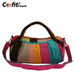 Wholesale Tote Bags Stripped - Wholesale-Promotional New Trendy Casual Style Women's Multicolor Strip Canvas Shoulder Bag wholesale freeshipping