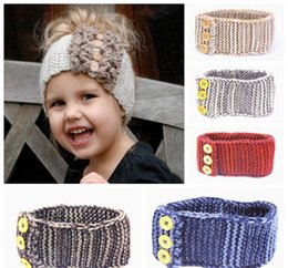 Wholesale Crochet Baby Head Band - baby crochet headbands kids knitted hair bands girls handmade wool head wraps children winter earflap buttons ear warmer headwear wholesale