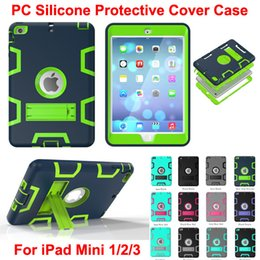 Wholesale kids robots - DHL 3 in 1 Shockproof kids Protector Case PC + Silicone Hybrid Robot Protect Screen Protector cover case for ipad mini 1 2 3
