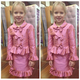 Wholesale Pageant Outfits - Cute Bowknot Adorned Knee Length Girls Pageant Dresses Pleated Ruched With Long Jacket Outfit Formal Interview Girls Wear